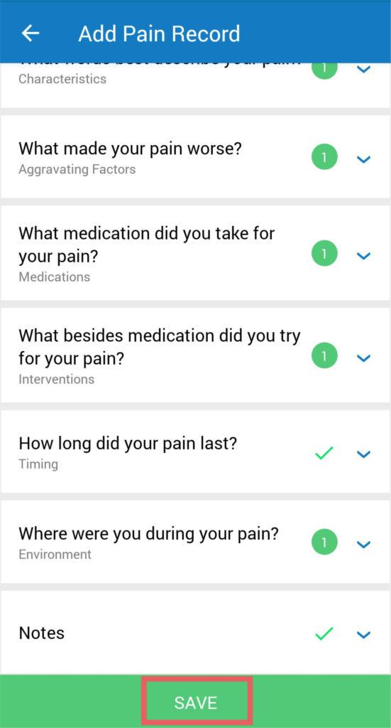 manage my pain app tutorial screenshot 4