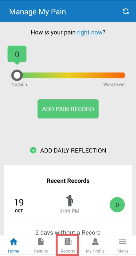 manage my pain app tutorial screenshot